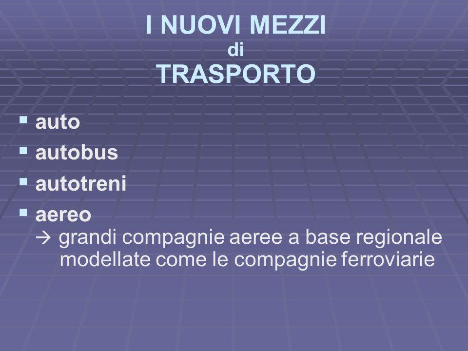 I NUOVI MEZZI di TRASPORTO auto autobus autotreni aereo grandi compagnie aeree a base regionale modellate come le compagnie ferroviarie
