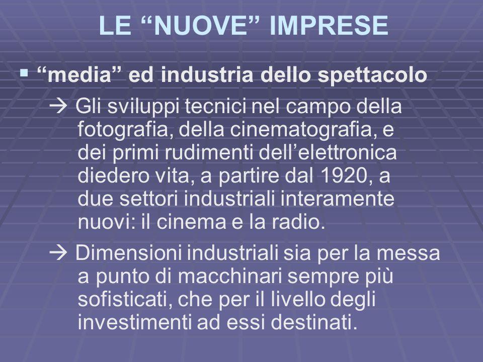 LE NUOVE IMPRESE media ed industria dello spettacolo Gli sviluppi tecnici nel campo della fotografia, della cinematografia, e dei primi rudimenti dell