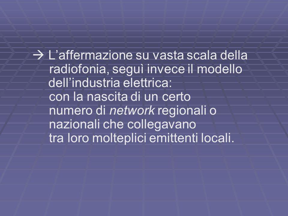 Laffermazione su vasta scala della radiofonia, seguì invece il modello dellindustria elettrica: con la nascita di un certo numero di network regionali