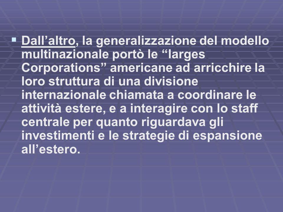 Dallaltro, la generalizzazione del modello multinazionale portò le larges Corporations americane ad arricchire la loro struttura di una divisione inte
