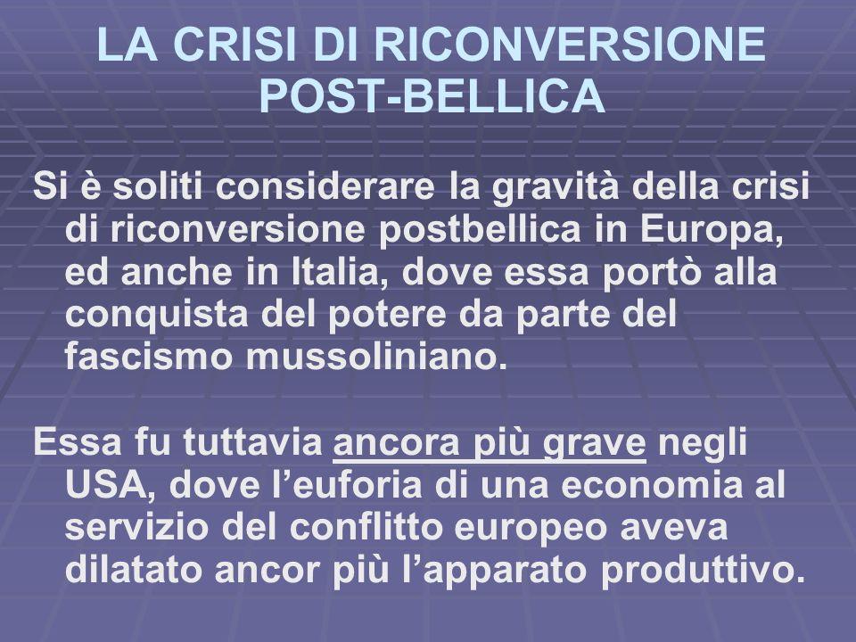 LA CRISI DI RICONVERSIONE POST-BELLICA Si è soliti considerare la gravità della crisi di riconversione postbellica in Europa, ed anche in Italia, dove