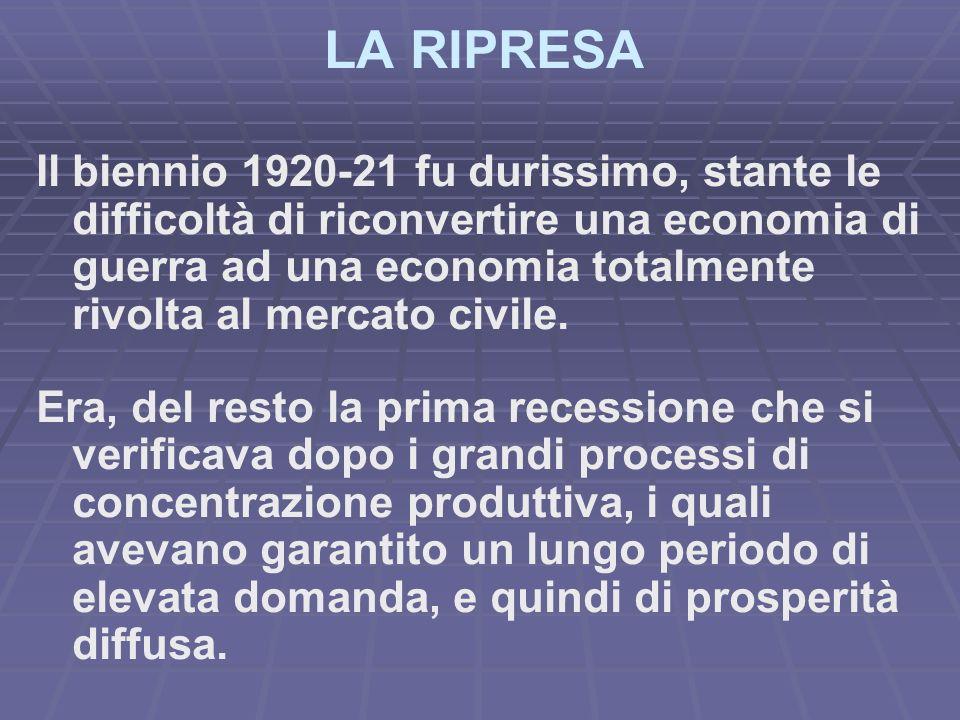 LA RIPRESA Il biennio 1920-21 fu durissimo, stante le difficoltà di riconvertire una economia di guerra ad una economia totalmente rivolta al mercato