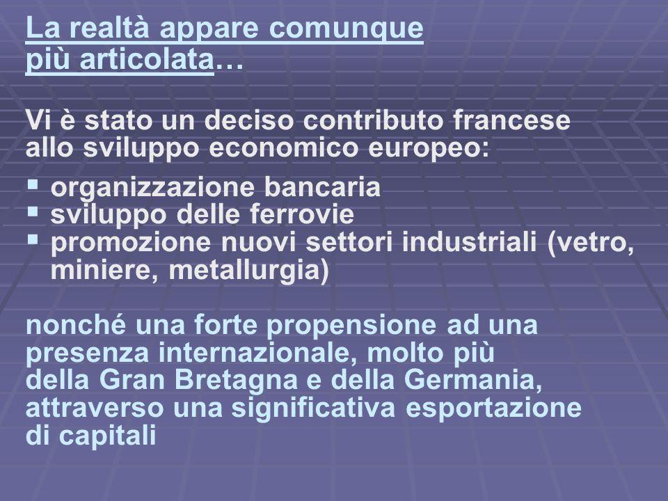 La realtà appare comunque più articolata… Vi è stato un deciso contributo francese allo sviluppo economico europeo: organizzazione bancaria sviluppo d