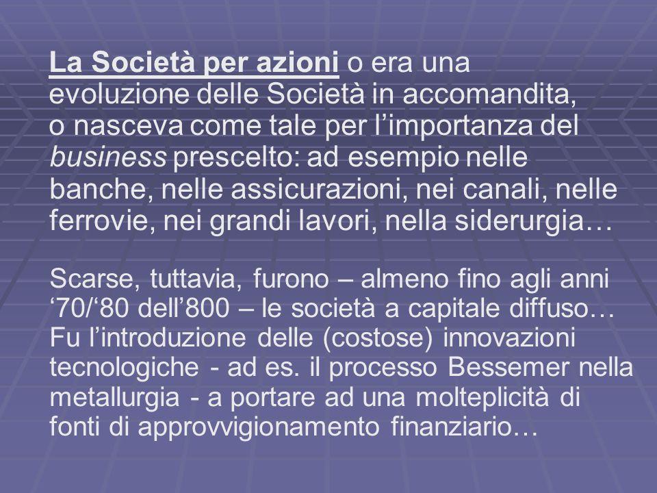 La Società per azioni o era una evoluzione delle Società in accomandita, o nasceva come tale per limportanza del business prescelto: ad esempio nelle