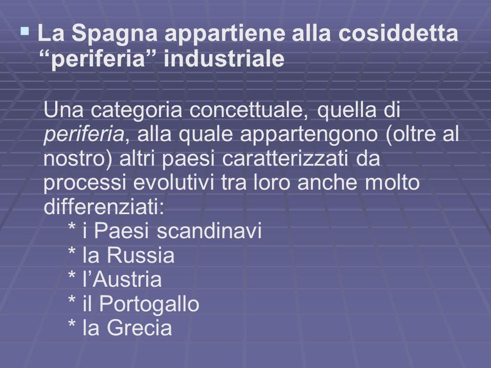 La Spagna appartiene alla cosiddetta periferia industriale Una categoria concettuale, quella di periferia, alla quale appartengono (oltre al nostro) a