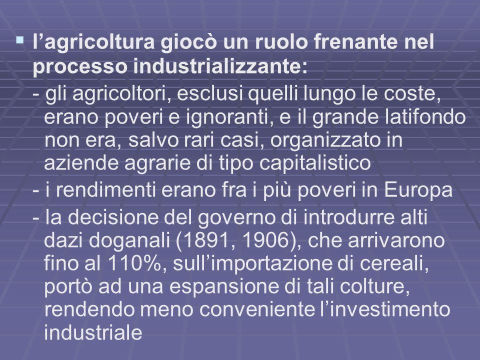 lagricoltura giocò un ruolo frenante nel processo industrializzante: - gli agricoltori, esclusi quelli lungo le coste, erano poveri e ignoranti, e il