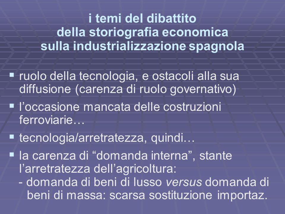 i temi del dibattito della storiografia economica sulla industrializzazione spagnola ruolo della tecnologia, e ostacoli alla sua diffusione (carenza d