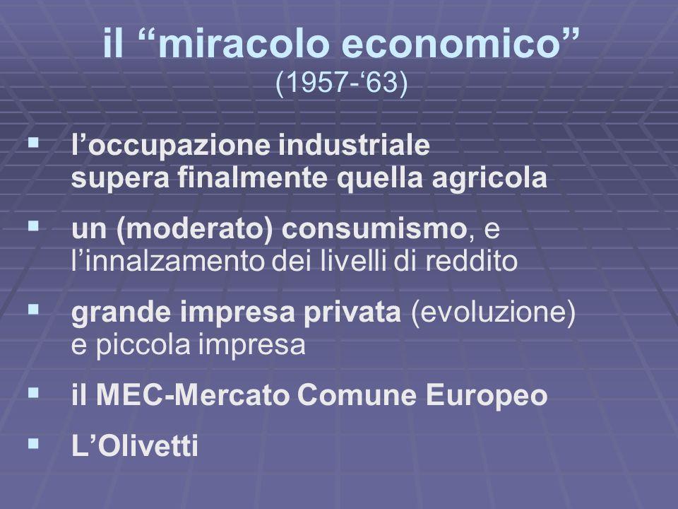 il miracolo economico (1957-63) loccupazione industriale supera finalmente quella agricola un (moderato) consumismo, e linnalzamento dei livelli di reddito grande impresa privata (evoluzione) e piccola impresa il MEC-Mercato Comune Europeo LOlivetti