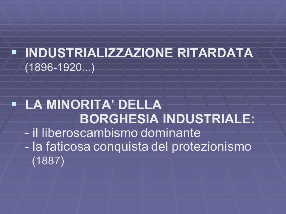 INDUSTRIALIZZAZIONE RITARDATA (1896-1920...) LA MINORITA DELLA BORGHESIA INDUSTRIALE: - il liberoscambismo dominante - la faticosa conquista del protezionismo (1887)