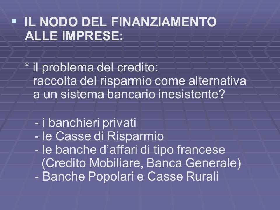 IL NODO DEL FINANZIAMENTO ALLE IMPRESE: * il problema del credito: raccolta del risparmio come alternativa a un sistema bancario inesistente.