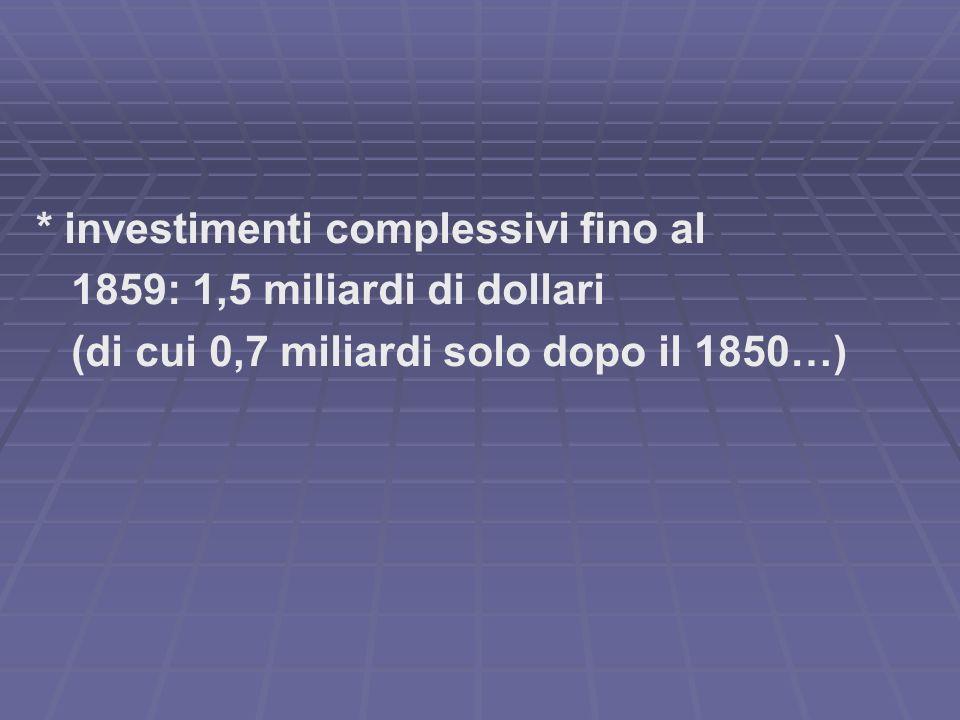 * investimenti complessivi fino al 1859: 1,5 miliardi di dollari (di cui 0,7 miliardi solo dopo il 1850…)