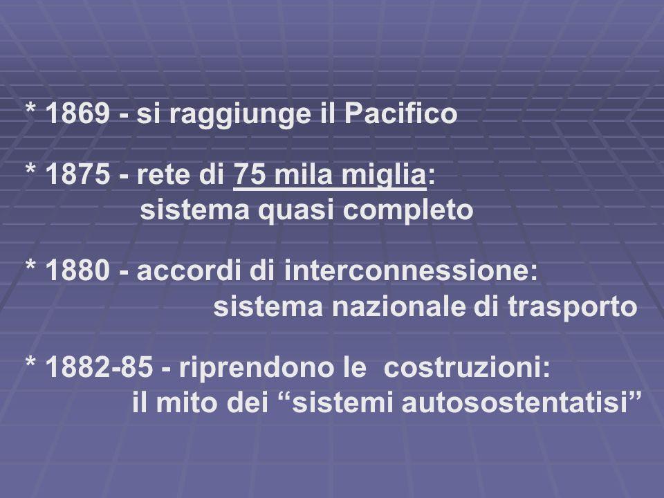 * 1869 - si raggiunge il Pacifico * 1875 - rete di 75 mila miglia: sistema quasi completo * 1880 - accordi di interconnessione: sistema nazionale di trasporto * 1882-85 - riprendono le costruzioni: il mito dei sistemi autosostentatisi