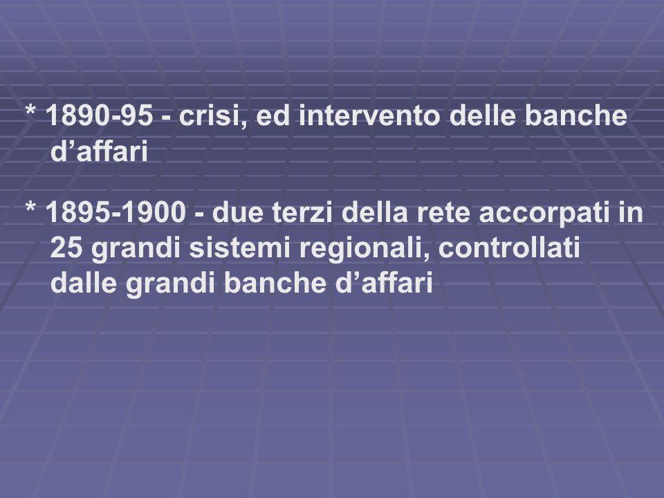 * 1890-95 - crisi, ed intervento delle banche daffari * 1895-1900 - due terzi della rete accorpati in 25 grandi sistemi regionali, controllati dalle grandi banche daffari