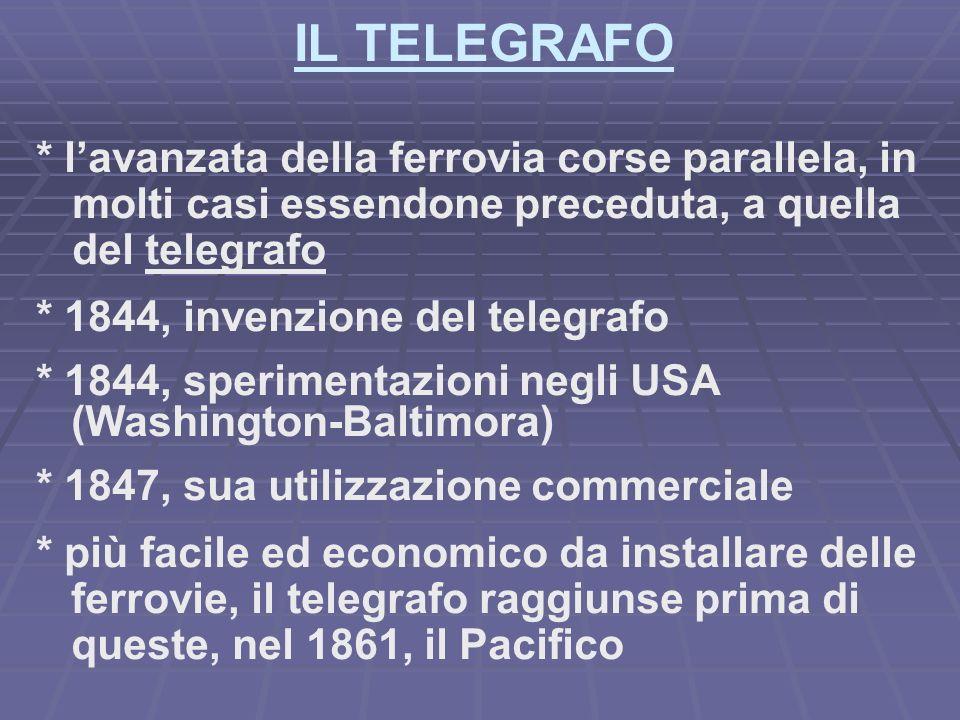 IL TELEGRAFO * lavanzata della ferrovia corse parallela, in molti casi essendone preceduta, a quella del telegrafo * 1844, invenzione del telegrafo * 1844, sperimentazioni negli USA (Washington-Baltimora) * 1847, sua utilizzazione commerciale * più facile ed economico da installare delle ferrovie, il telegrafo raggiunse prima di queste, nel 1861, il Pacifico