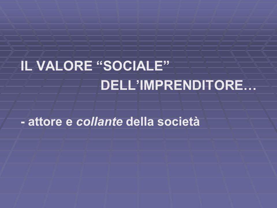IL VALORE SOCIALE DELLIMPRENDITORE… - attore e collante della società