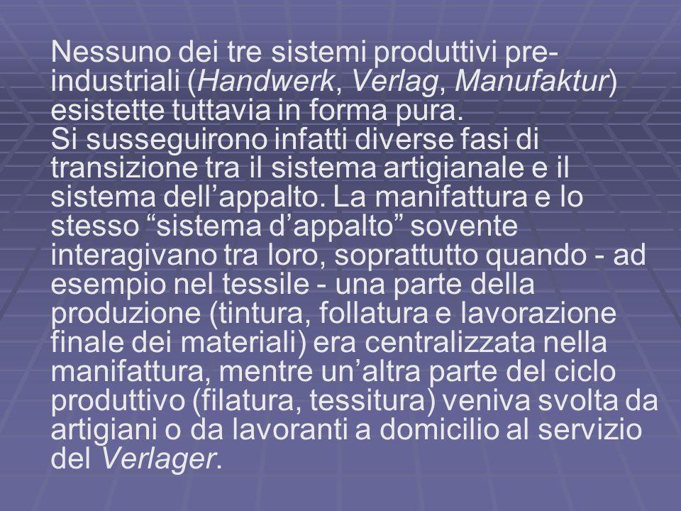 Nessuno dei tre sistemi produttivi pre- industriali (Handwerk, Verlag, Manufaktur) esistette tuttavia in forma pura.