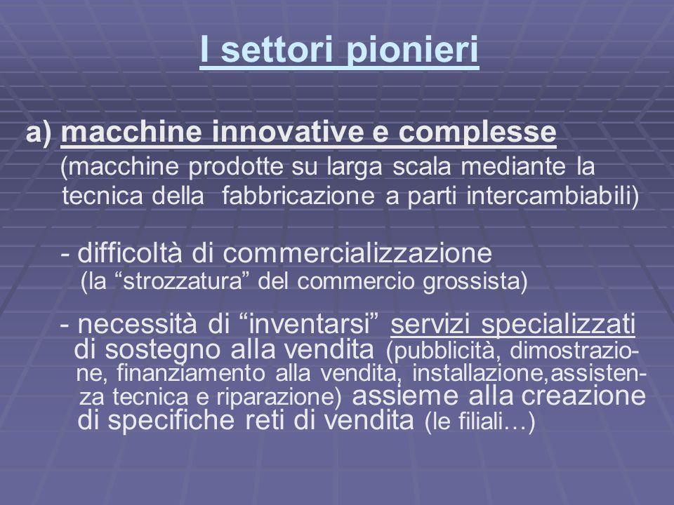 I settori pionieri a) macchine innovative e complesse (macchine prodotte su larga scala mediante la tecnica della fabbricazione a parti intercambiabil