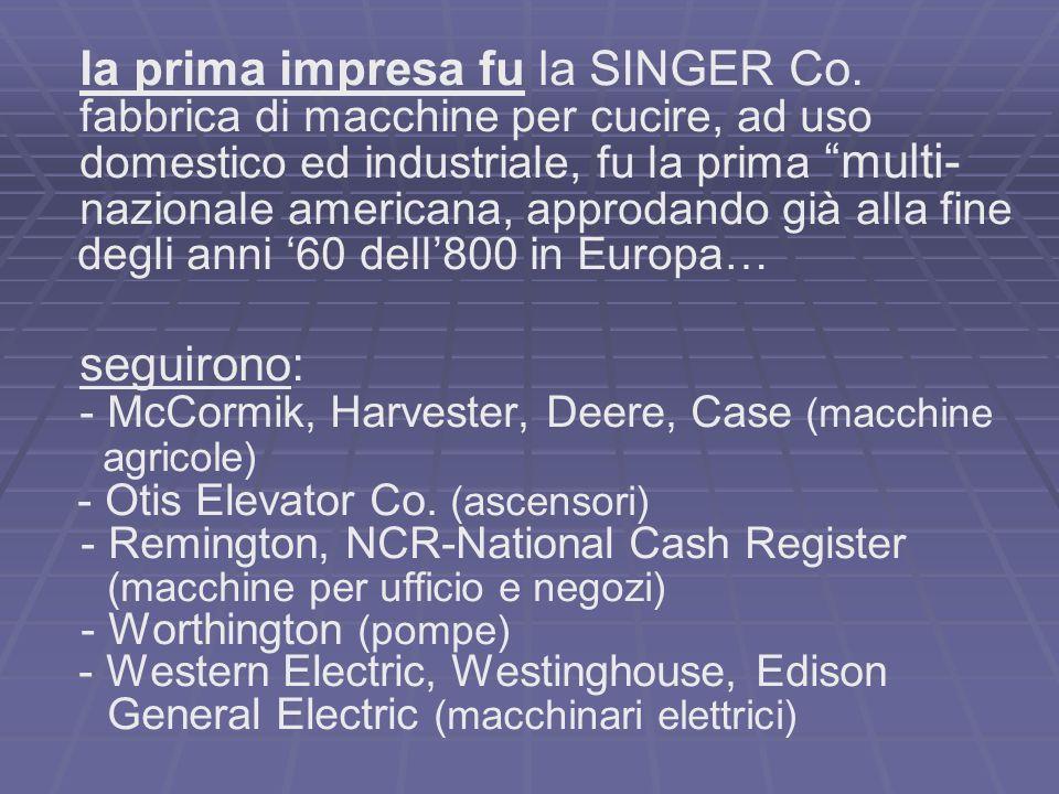 la prima impresa fu la SINGER Co.
