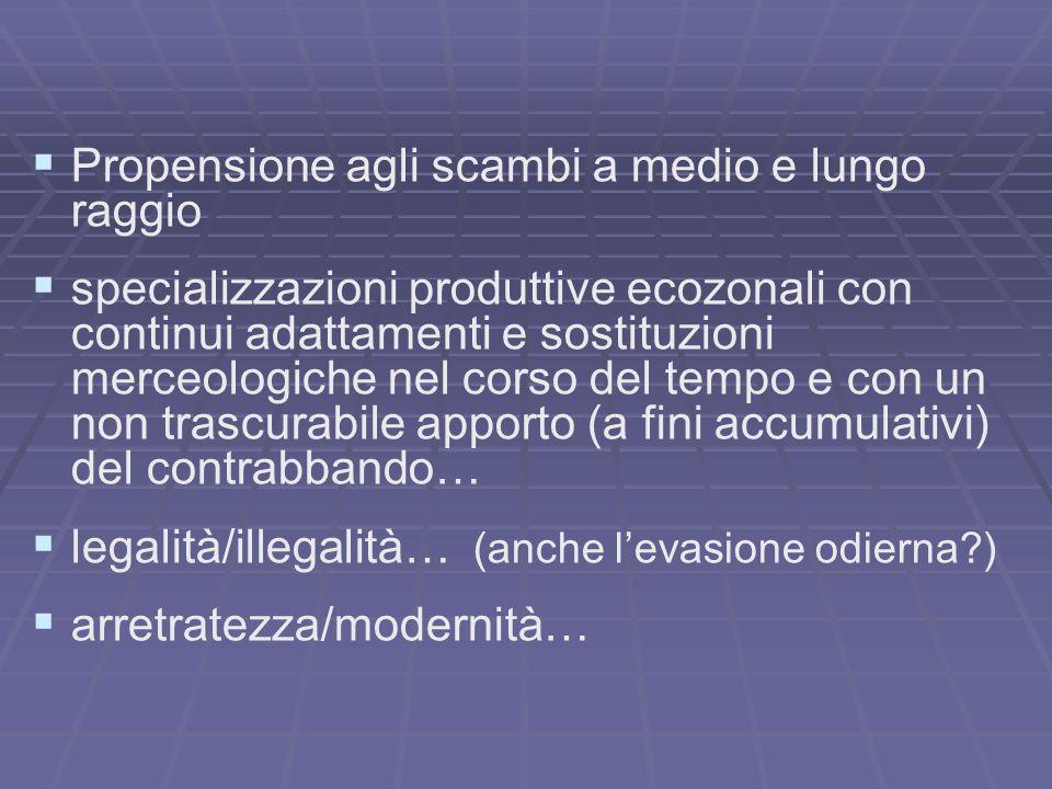 Propensione agli scambi a medio e lungo raggio specializzazioni produttive ecozonali con continui adattamenti e sostituzioni merceologiche nel corso d