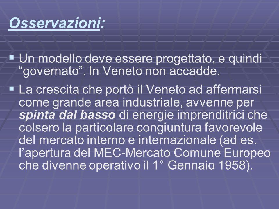 Osservazioni: Un modello deve essere progettato, e quindi governato. In Veneto non accadde. La crescita che portò il Veneto ad affermarsi come grande
