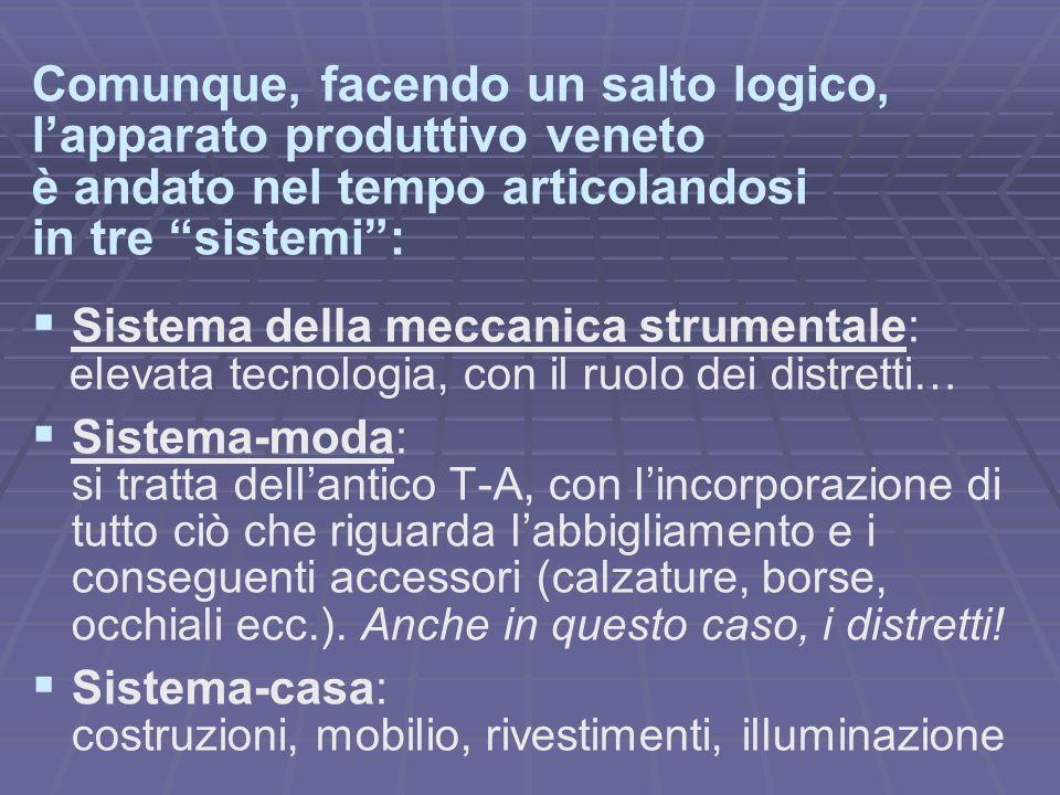 Comunque, facendo un salto logico, lapparato produttivo veneto è andato nel tempo articolandosi in tre sistemi: Sistema della meccanica strumentale: e