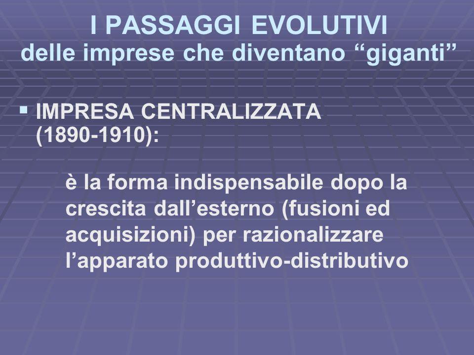 I PASSAGGI EVOLUTIVI delle imprese che diventano giganti IMPRESA CENTRALIZZATA (1890-1910): è la forma indispensabile dopo la crescita dallesterno (fusioni ed acquisizioni) per razionalizzare lapparato produttivo-distributivo