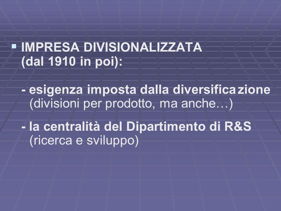 IMPRESA DIVISIONALIZZATA (dal 1910 in poi): - esigenza imposta dalla diversifica zione (divisioni per prodotto, ma anche…) - la centralità del Dipartimento di R&S (ricerca e sviluppo)