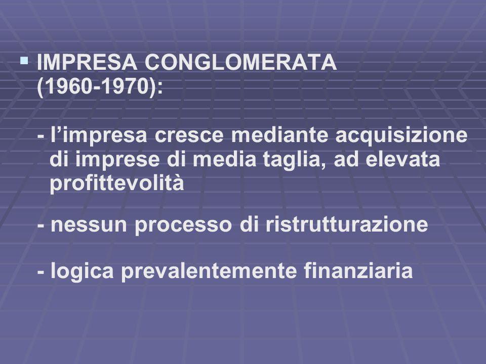 IMPRESA CONGLOMERATA (1960-1970): - limpresa cresce mediante acquisizione di imprese di media taglia, ad elevata profittevolità - nessun processo di ristrutturazione - logica prevalentemente finanziaria