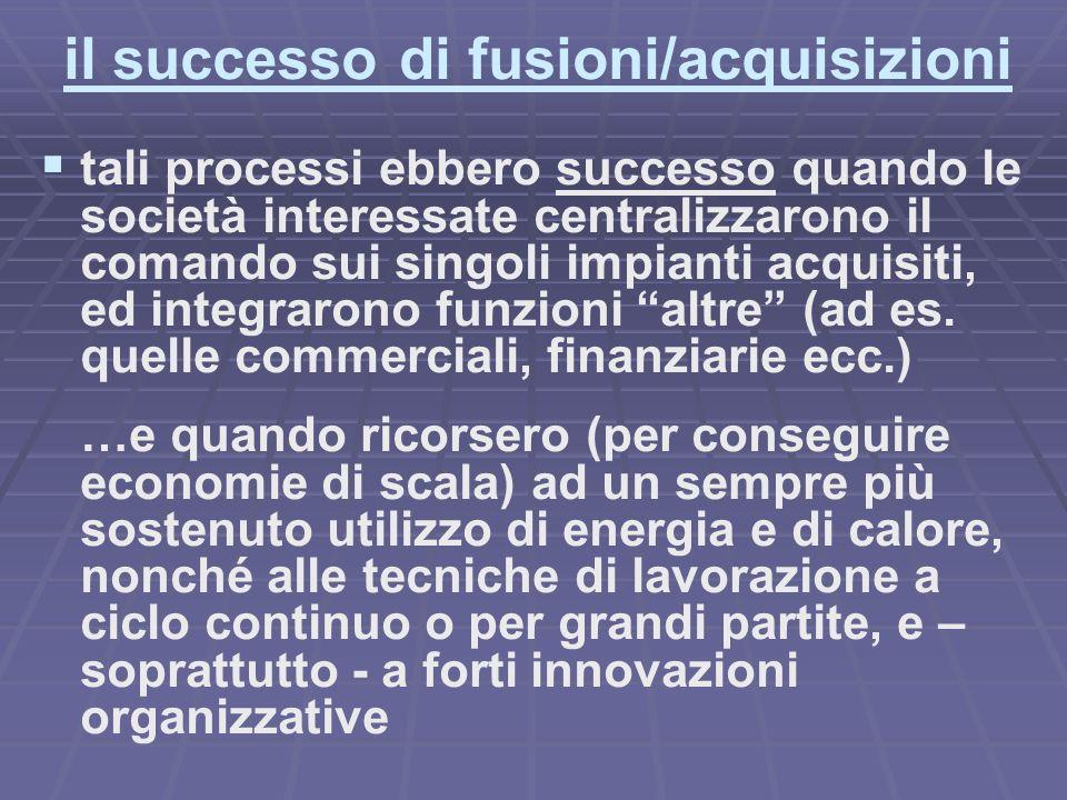 il successo di fusioni/acquisizioni tali processi ebbero successo quando le società interessate centralizzarono il comando sui singoli impianti acquisiti, ed integrarono funzioni altre (ad es.