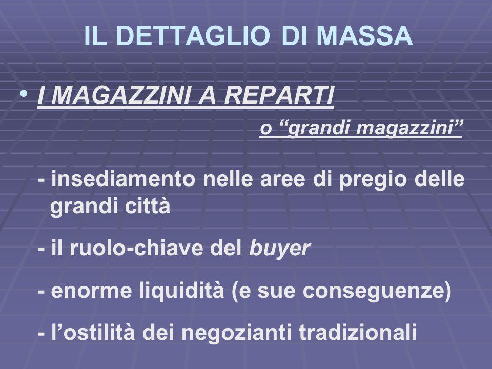 IL DETTAGLIO DI MASSA I MAGAZZINI A REPARTI o grandi magazzini - insediamento nelle aree di pregio delle grandi città - il ruolo-chiave del buyer - en