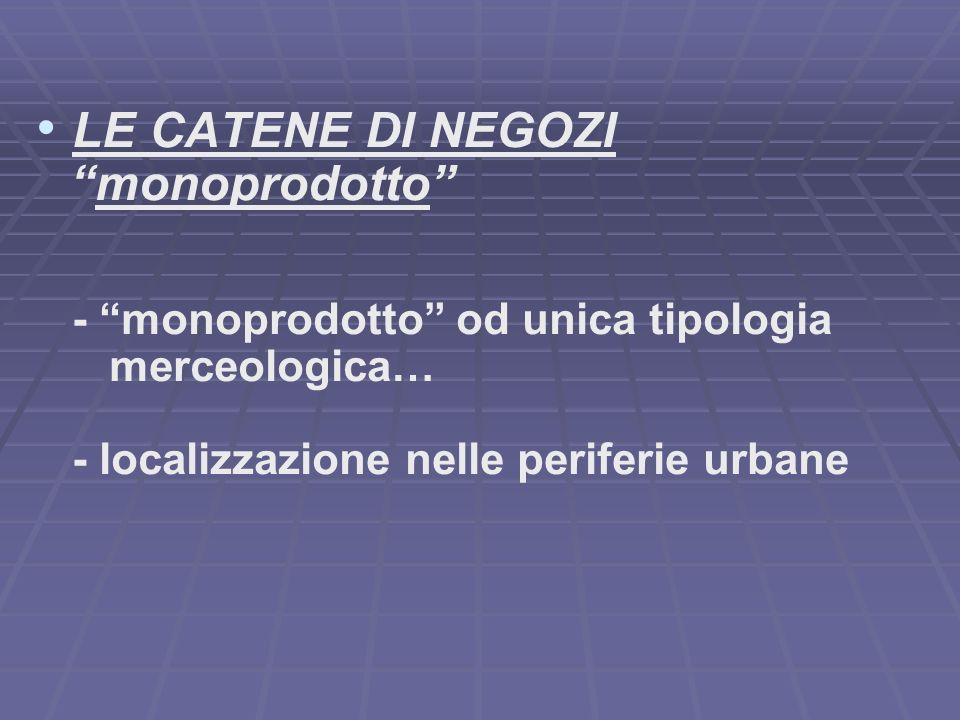 LE CATENE DI NEGOZI monoprodotto - monoprodotto od unica tipologia merceologica… - localizzazione nelle periferie urbane