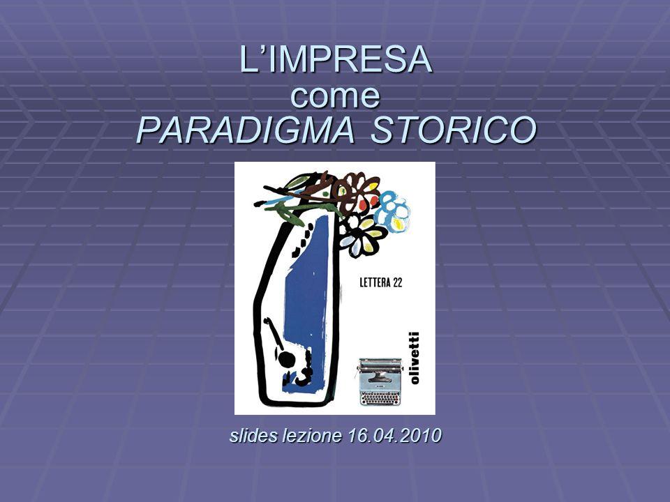 LIMPRESA come PARADIGMA STORICO slides lezione 16.04.2010 LIMPRESA come PARADIGMA STORICO.