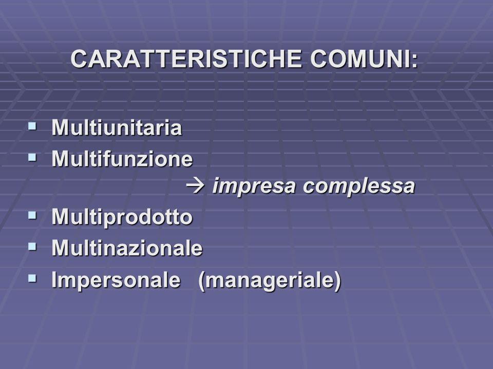 CARATTERISTICHE COMUNI: Multiunitaria Multiunitaria Multifunzione Multifunzione impresa complessa impresa complessa Multiprodotto Multiprodotto Multinazionale Multinazionale Impersonale (manageriale) Impersonale (manageriale)