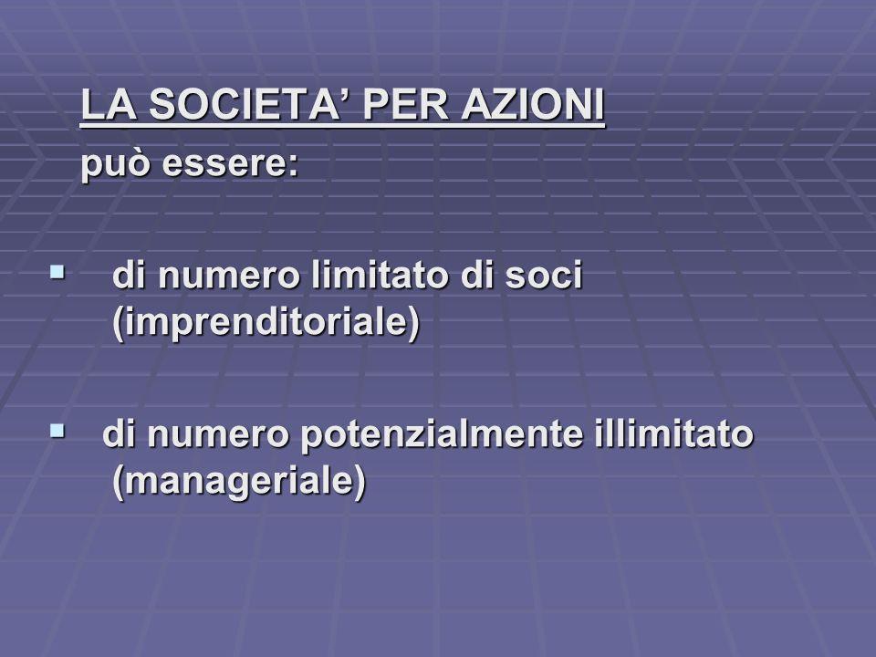 LA SOCIETA PER AZIONI può essere: di numero limitato di soci di numero limitato di soci (imprenditoriale) (imprenditoriale) di numero potenzialmente illimitato di numero potenzialmente illimitato (manageriale) (manageriale)