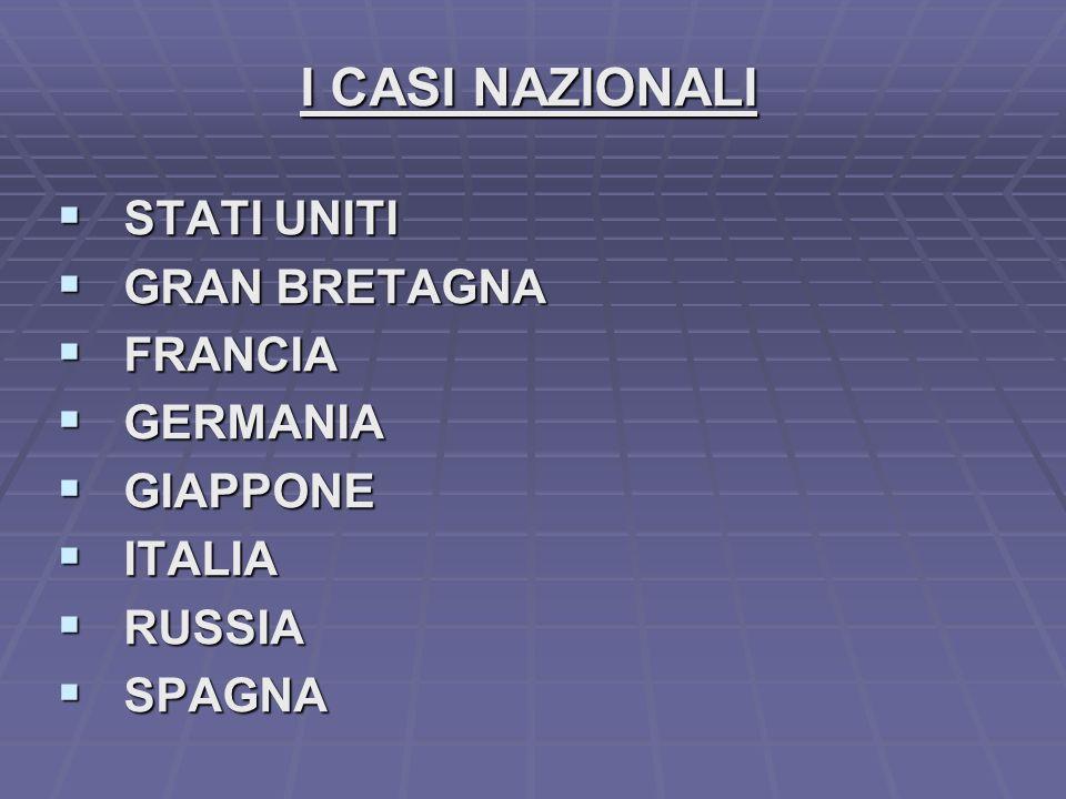I CASI NAZIONALI STATI UNITI STATI UNITI GRAN BRETAGNA GRAN BRETAGNA FRANCIA FRANCIA GERMANIA GERMANIA GIAPPONE GIAPPONE ITALIA ITALIA RUSSIA RUSSIA SPAGNA SPAGNA