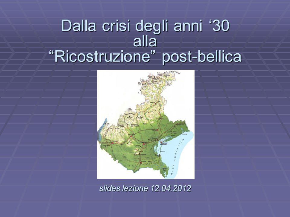 il 2° Censimento industriale (1927) sancì - con qualche miglioramento - la terza posizione del Veneto nellassetto industriale italiano, confermando il suo ruolo di regione-cerniera tra modernizzazione ed arretratezza ma fu il 3° Censimento (1937-40) a segnare - pur nel travaglio della grande crisi, e degli scompensi che essa comportò - un assetto più maturo del nostro territorio.