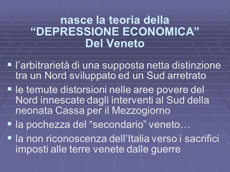 nasce la teoria della DEPRESSIONE ECONOMICA Del Veneto larbitrarietà di una supposta netta distinzione tra un Nord sviluppato ed un Sud arretrato le t