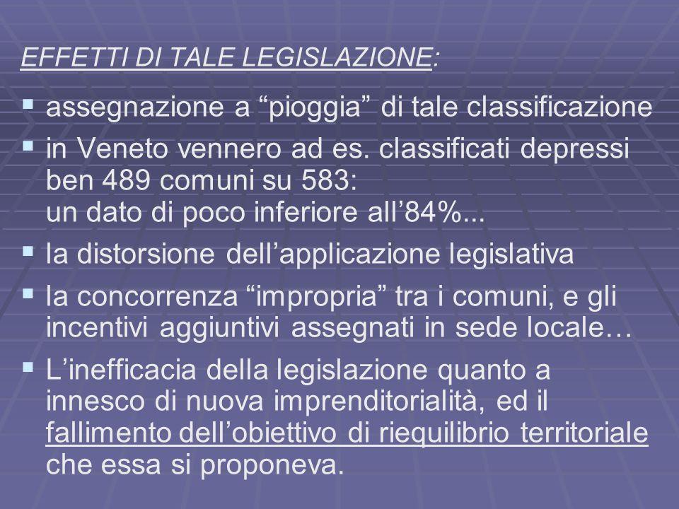 EFFETTI DI TALE LEGISLAZIONE: assegnazione a pioggia di tale classificazione in Veneto vennero ad es. classificati depressi ben 489 comuni su 583: un