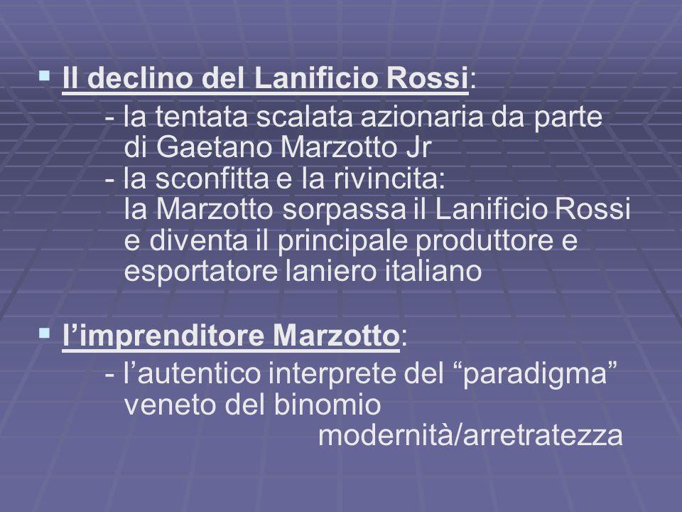 Il declino del Lanificio Rossi: - la tentata scalata azionaria da parte di Gaetano Marzotto Jr - la sconfitta e la rivincita: la Marzotto sorpassa il