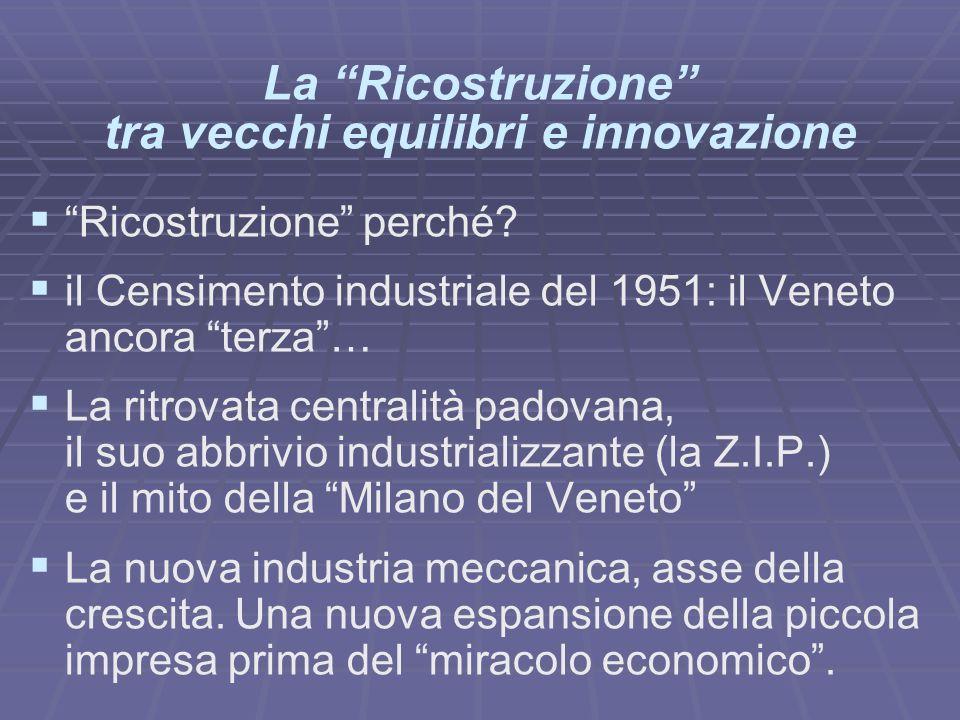 La Ricostruzione tra vecchi equilibri e innovazione Ricostruzione perché? il Censimento industriale del 1951: il Veneto ancora terza… La ritrovata cen