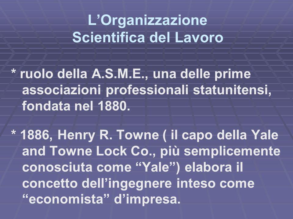 LOrganizzazione Scientifica del Lavoro * ruolo della A.S.M.E., una delle prime associazioni professionali statunitensi, fondata nel 1880. * 1886, Henr