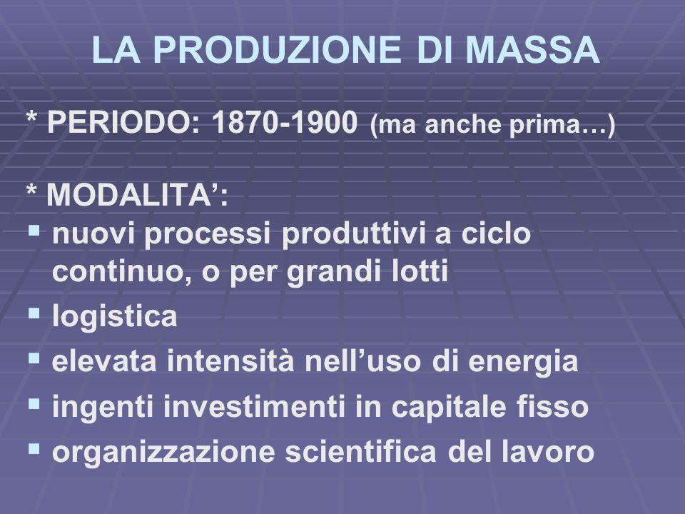 LA PRODUZIONE DI MASSA * PERIODO: 1870-1900 (ma anche prima…) * MODALITA: nuovi processi produttivi a ciclo continuo, o per grandi lotti logistica ele