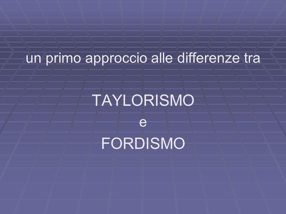 un primo approccio alle differenze tra TAYLORISMO e FORDISMO