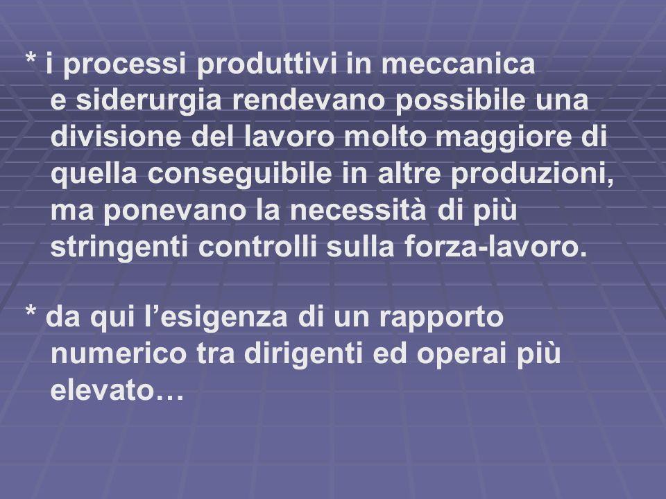 * elevata parcellizzazione delle lavorazioni nelle imprese che producevano su grande scala macchinari ed altri prodotti mediante la fabbricazione ed il montaggio a parti intercambiabili (ad es.