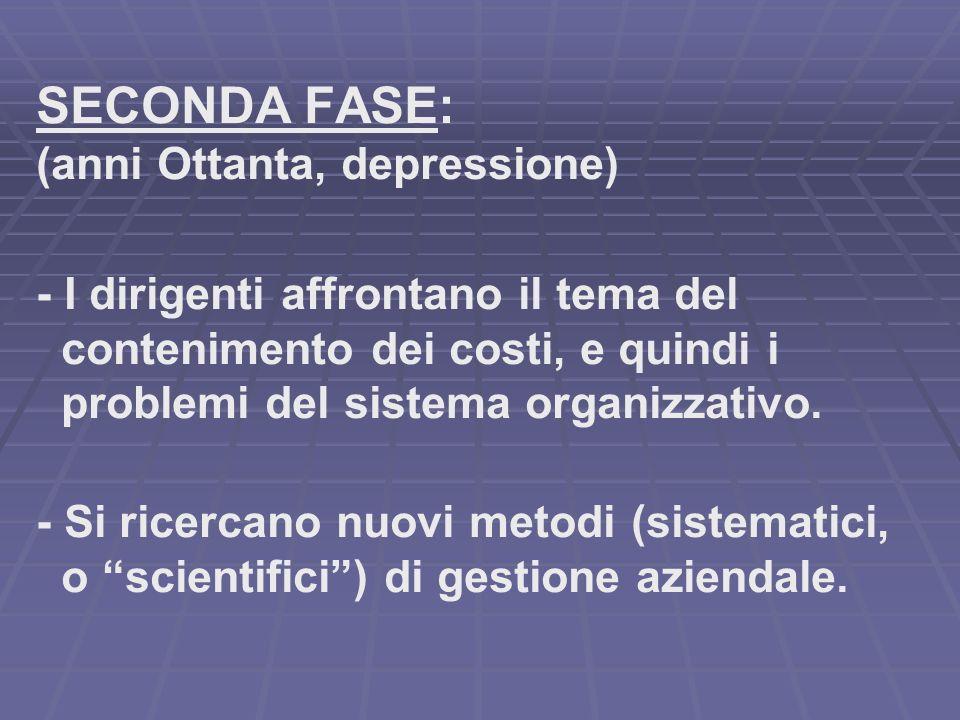 SECONDA FASE: (anni Ottanta, depressione) - I dirigenti affrontano il tema del contenimento dei costi, e quindi i problemi del sistema organizzativo.