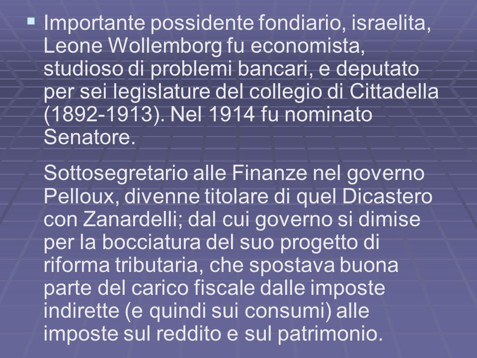 Importante possidente fondiario, israelita, Leone Wollemborg fu economista, studioso di problemi bancari, e deputato per sei legislature del collegio di Cittadella (1892-1913).