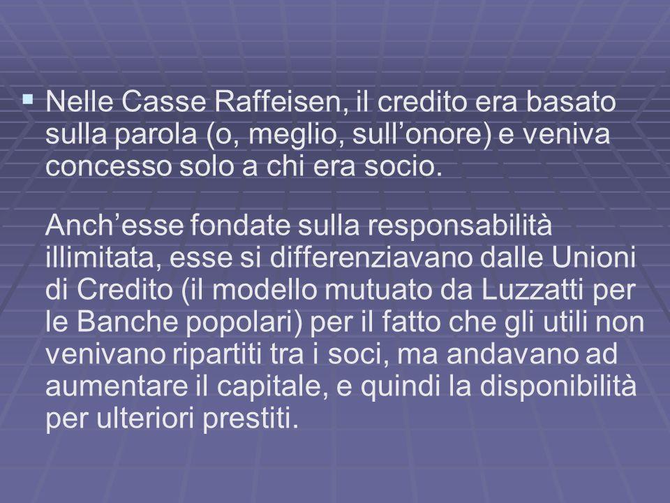 Nelle Casse Raffeisen, il credito era basato sulla parola (o, meglio, sullonore) e veniva concesso solo a chi era socio.