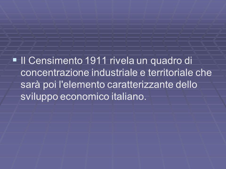 Il Censimento 1911 rivela un quadro di concentrazione industriale e territoriale che sarà poi l elemento caratterizzante dello sviluppo economico italiano.