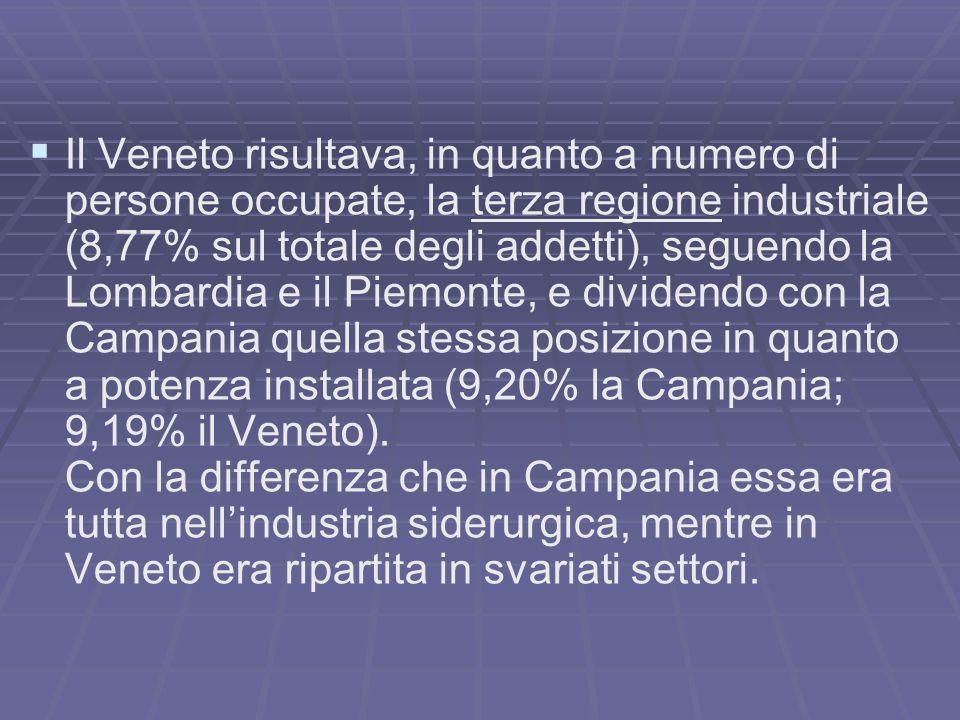 Il Veneto risultava, in quanto a numero di persone occupate, la terza regione industriale (8,77% sul totale degli addetti), seguendo la Lombardia e il Piemonte, e dividendo con la Campania quella stessa posizione in quanto a potenza installata (9,20% la Campania; 9,19% il Veneto).