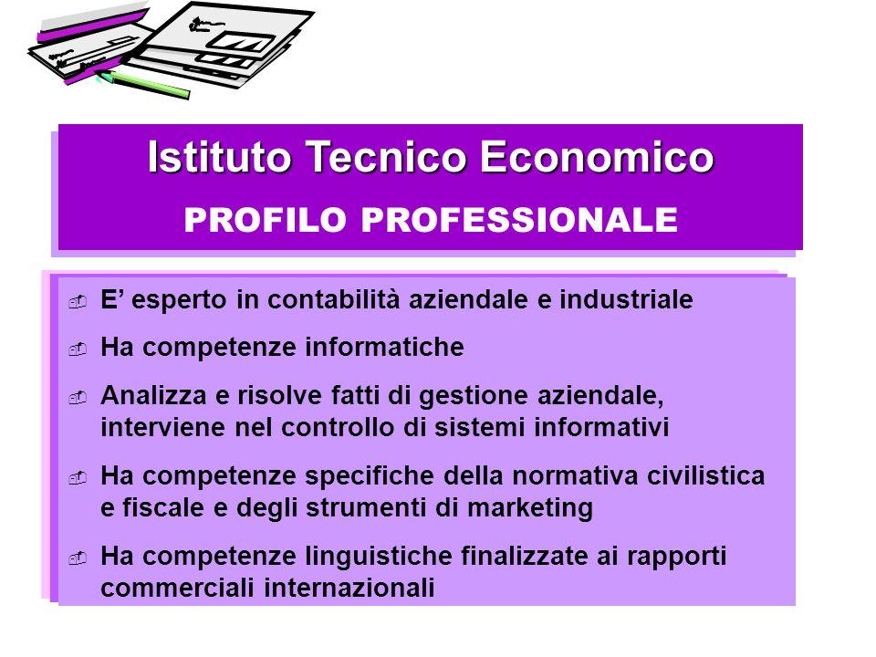 Istituto Tecnico Economico PROFILO PROFESSIONALE Istituto Tecnico Economico PROFILO PROFESSIONALE E esperto in contabilità aziendale e industriale Ha